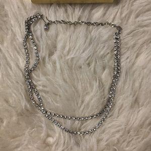 Vintage rhinestone double strand necklace hook